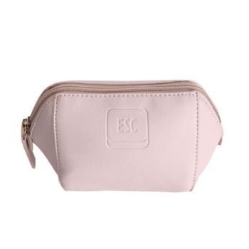 Imitation Leather Cosmetic Purse - Light Antique Pink